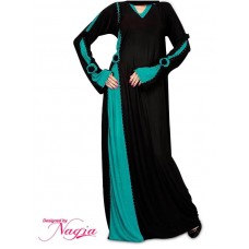 Vivacious Black And Turquoise Lycra Abaya
