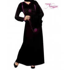 Black Design Lycra With Flower Abaya