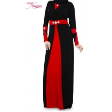 Red and Black Lycra with Stone Abaya