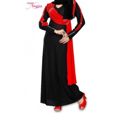 Arabian Black Abaya With Red