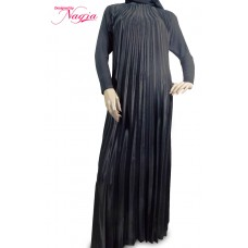 Straight Satin Abaya with Full Length Pleats