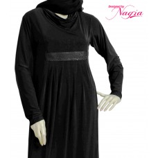 Straight Cut Abaya with a Stylish Waist Band Stylish Neck