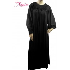 Straight Abaya with Pleats on the Neckline and Sleeves