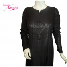 Beautiful black abaya with stone work